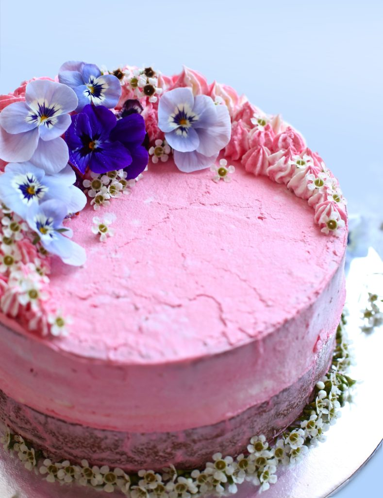 Vegan Berry Strawberry Pink Lady Sponge Cake