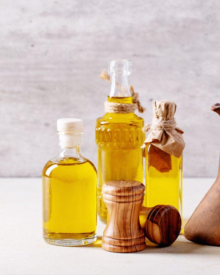 Olive oil in glass bottles