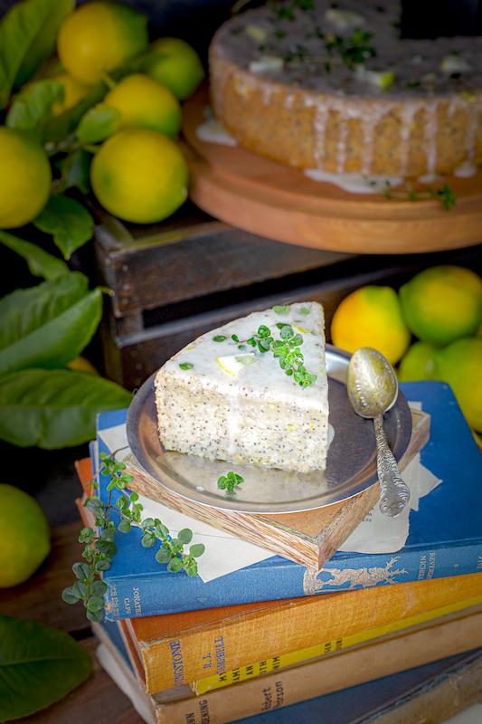 A slice of Gluten-Free-Vegan-Poppy-Seed-Lemon-Thyme-Cake